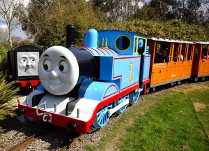 Thomas the Tank engine with Diesel in the background         (At last count there were 44 engines...)